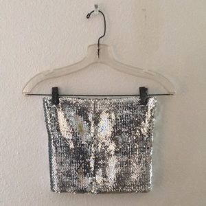 Silver Sequined Tube Top